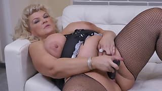 Sensual blonde BBW is playing with her hole