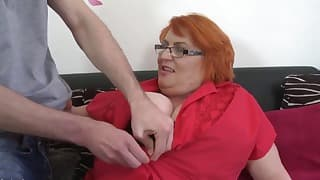 Chubby hot redhead BBW sucks a dick