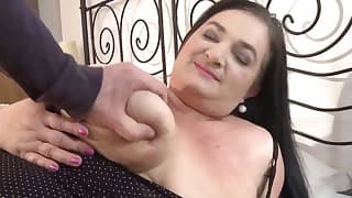 Brunette BBW is enjoying dick sucking