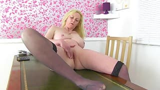 Sensual blonde mom shows off her body
