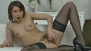 Spreading and masturbating in stockings